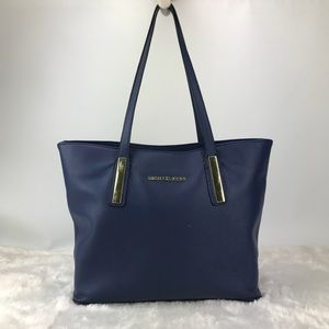 Tote Bag Blue Logo Brand Plated Zip Top